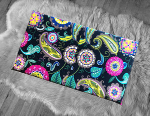 Colorful Paisley Print IKEA VISSLA Bench Pad Slip Cover, Floral Summer