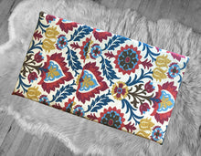 Load image into Gallery viewer, Jewel Tones Floral Mexican Print Bench Pad Cover, Damask IKEA Santa Maria Gem