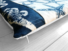 Load image into Gallery viewer, Ocean Theme, Seahorses, Starfish Navy Blue Print IKEA STUVA Bench Pad Slip Cover, Nautical Sea
