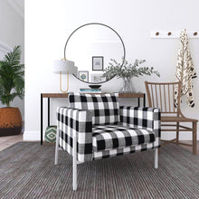 Load image into Gallery viewer, IKEA KOARP Armchair Covers, Farmhouse Buffalo Check Plaid Black White Chair Cover