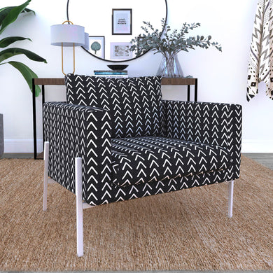 IKEA KOARP Armchair Covers, Arrows Tribal Print, African Ikea Decor, Black Boho Indoor Mudcloth Chair Cover