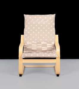 Beige Polka Dot Patchwork IKEA POÄNG Cushion Slipcover, Kids Poang Chair Cover