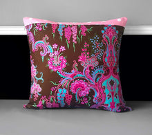 "Load image into Gallery viewer, Pink Thai Style Flower Pillow Covers, Chocolate Pink Cushion Covers 18"" x 18"""