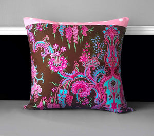 "Pink Thai Style Flower Pillow Covers, Chocolate Pink Cushion Covers 18"" x 18"""