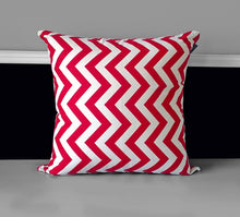 "Load image into Gallery viewer, Pillow Cover - Red White Chevron 20"" x 20"", Ready to Ship"