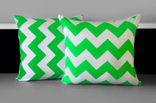 Load image into Gallery viewer, Pillow Cover - Neon Green Chevron, Ready to Ship