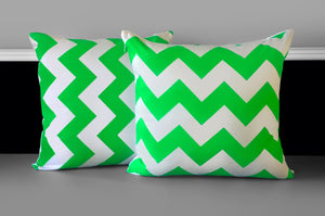 Pillow Cover - Neon Green Chevron, Ready to Ship