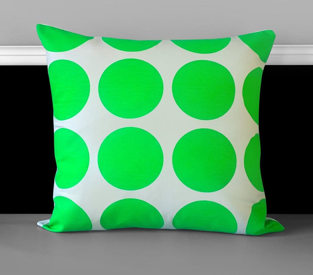 "Pillow Cover, Neon Green Dot 18"" x 18"", Ready to Ship"