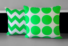 "Load image into Gallery viewer, Pillow Cover, Neon Green Dot 18"" x 18"", Ready to Ship"