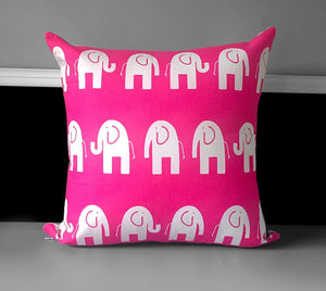 "Pink Elephants Pillow Cover 19"" x 19"""