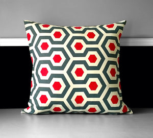 Red Blue Gray Geometric Print Pillow Cover