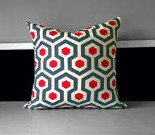 Load image into Gallery viewer, Red Blue Gray Geometric Print Pillow Cover