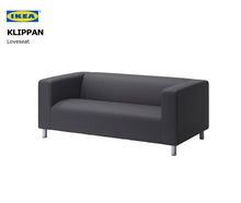 Load image into Gallery viewer, Navy Blue Cabana Stripe IKEA KLIPPAN Loveseat Slip Cover