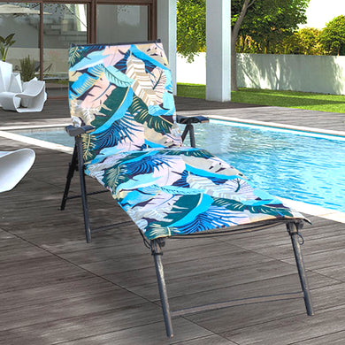 IKEA OUTDOOR Slip Cover, Hallo Chaise Pad Cover, Banana Leaf Teal Blue Pink