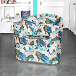 IKEA TULLSTA Chair Cover, Pink Teal Banana Leaf Jungle Print