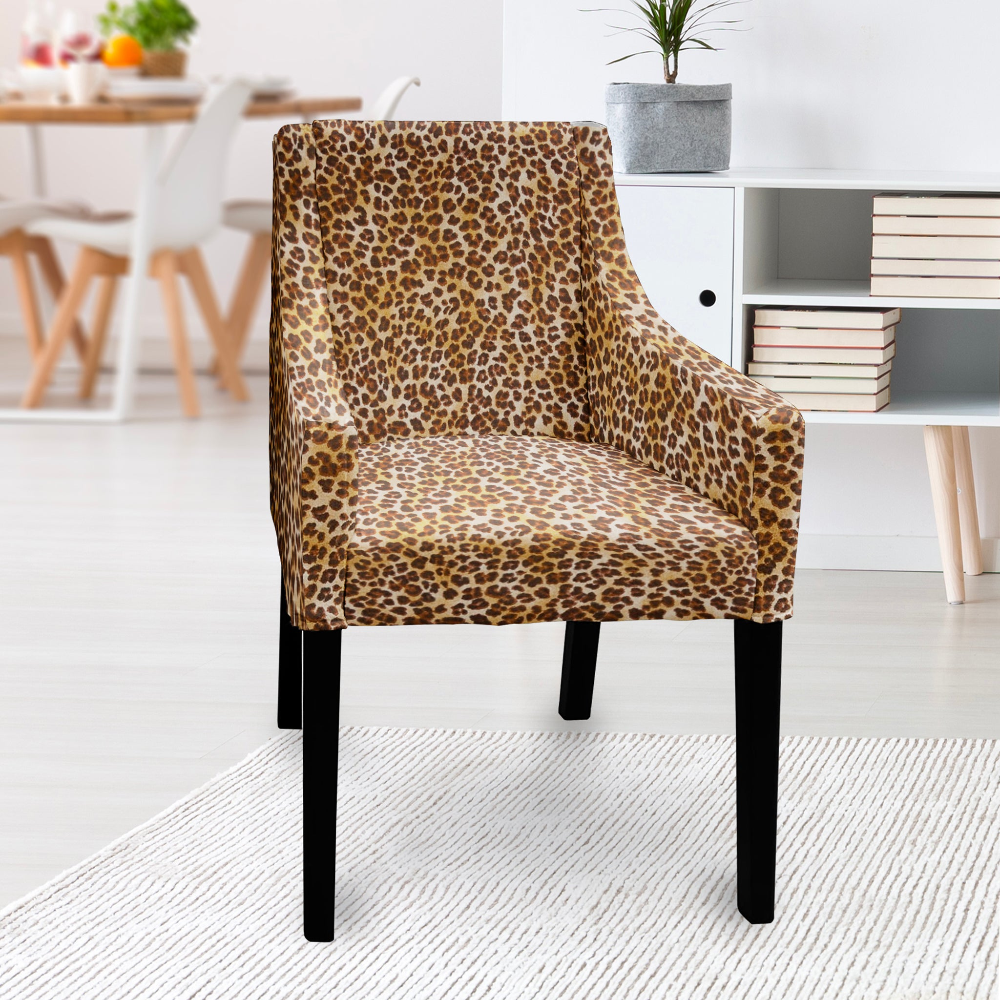 Picture of: Ikea Sakarias Dining Chair Slipcover Brown Cheetah Leopard Animal Print Affordable Designer Custom Handmade Trendy Fashionable Locally Made High Quality