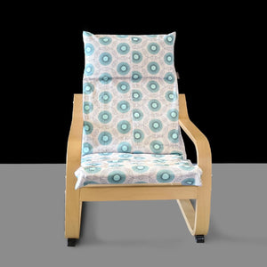 Grey Spiral Turquoise Blue Patterned Childs POÄNG Cushion Slipcover