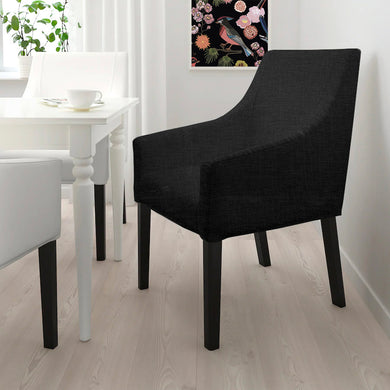 Solid Black Linen IKEA SAKARIAS Dining Chair Cover