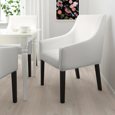 Solid White Linen IKEA SAKARIAS Dining Chair Cover