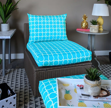 SALE IKEA Outdoor Slipcovers, Linked Turquoise Blue
