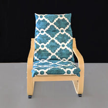 Load image into Gallery viewer, Teal Blue Patterned Child's Ikea Poang Seat Cover
