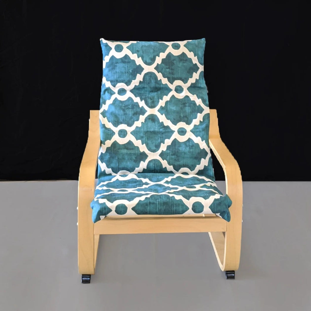 Teal Blue Patterned Child's Ikea Poang Seat Cover
