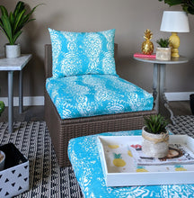 Load image into Gallery viewer, SALE IKEA Outdoor Slipcovers, Ikat Turquoise Blue