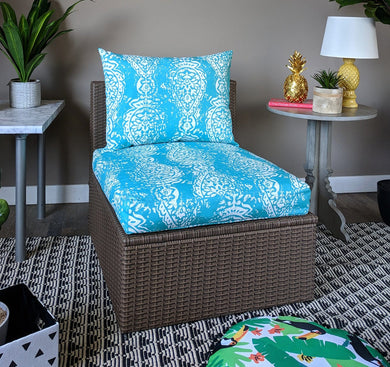 SALE IKEA Outdoor Slipcovers, Ikat Turquoise Blue