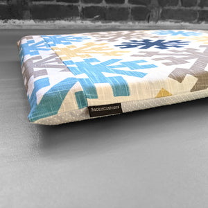 Mayan Tribal Pattern, IKEA STUVA Bench Pad Slip Cover, Blue, Yellow