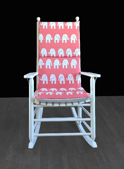 Coral Pink Elephants Rocking Chair Covers, Kids Nursery Cover And Inserts