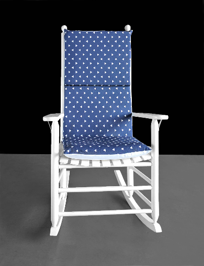 Indigo Blue Triangles Rocking Chair Cushion