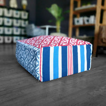 Load image into Gallery viewer, Red White Blue Ottoman, Floor Pouf Slip Cover