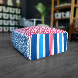 Red White Blue Ottoman, Floor Pouf Slip Cover