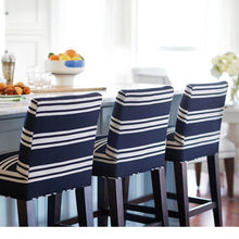 Load image into Gallery viewer, SUNBRELLA Hamptons Navy Blue Stripe, IKEA HENRIKSDAL Bar Stool Covers