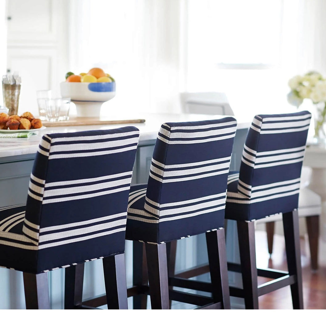 SUNBRELLA Hamptons Navy Blue Stripe, IKEA HENRIKSDAL Bar Stool Covers