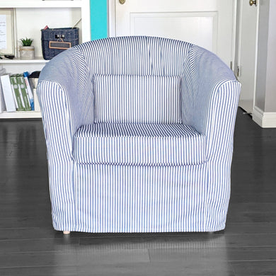 IKEA TULLSTA Chair Cover, Navy Blue Ticking Stripe