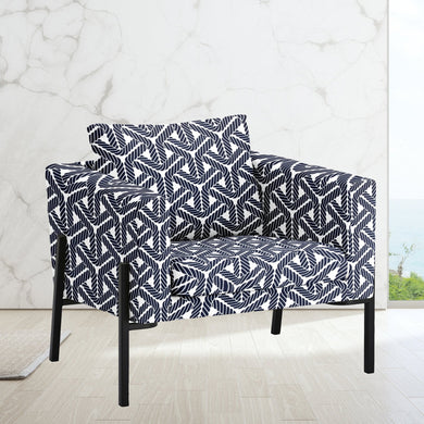 IKEA KOARP Armchair Cover, Navy Blue Coastal Rope