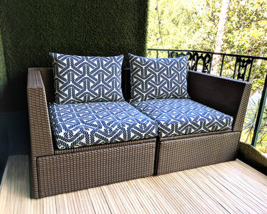 Navy Blue Rope Print, Outdoor IKEA Covers