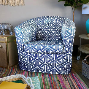 IKEA TULLSTA Chair Cover, Coastal Navy Blue Rope Print