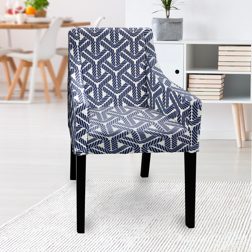 IKEA SAKARIAS Dining Chair Cover, Navy Blue Rope Print