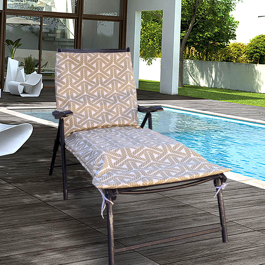 IKEA OUTDOOR Slip Cover, Hallo Chaise Pad Cover, Beige Sand Rope Print