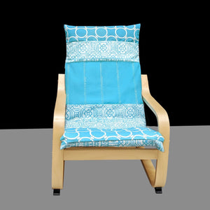 Turquoise Blue Patchwork Childs POÄNG Cushion Slipcover