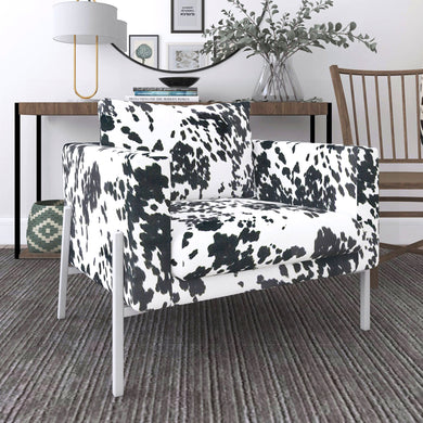 IKEA KOARP Armchair Covers, Black Cow Animal Print