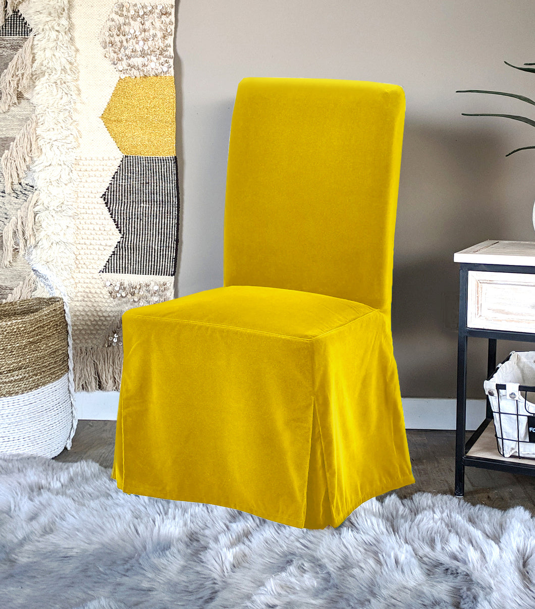 IKEA Henriksdal Dining Chair Cover, Gold Velvet