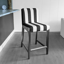 Load image into Gallery viewer, IKEA HENRIKSDAL Bar Stool Chair Cover, Black White Cabana Stripe