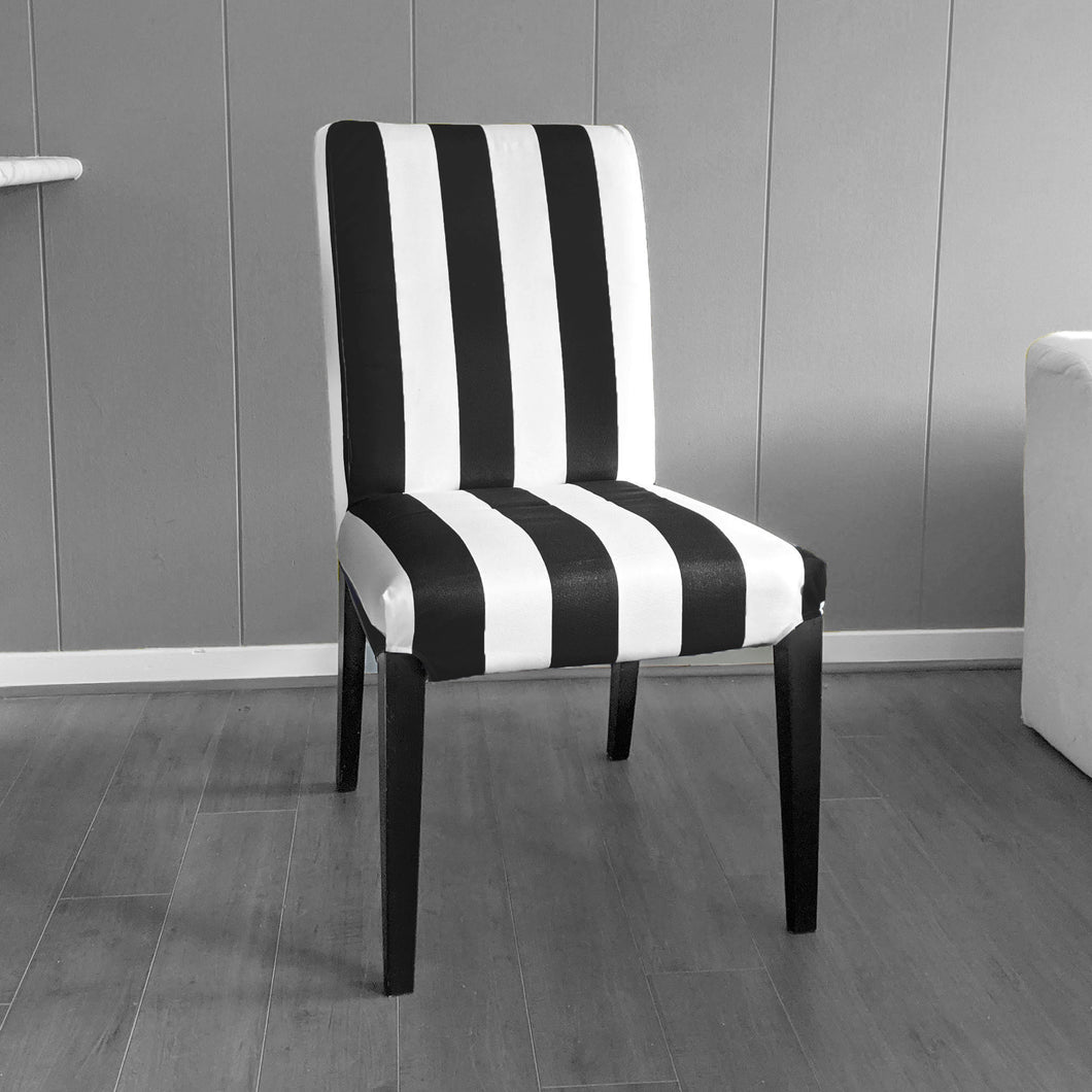 IKEA Henriksdsal Dining Chair Cover, Black White Cabana Stripe