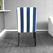Load image into Gallery viewer, IKEA Henriksdsal Dining Chair Cover, Navy Blue Cabana Stripe