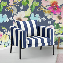 Load image into Gallery viewer, IKEA KOARP Armchair Cover, Navy Blue Stripe