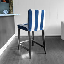 Load image into Gallery viewer, IKEA HENRIKSDAL Bar Stool Chair Cover, Navy Blue Cabana Stripe