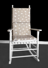 Load image into Gallery viewer, Beige Bird Print Rocking Chair Cushion, Reversible Rocking Chair Inserts And Covers